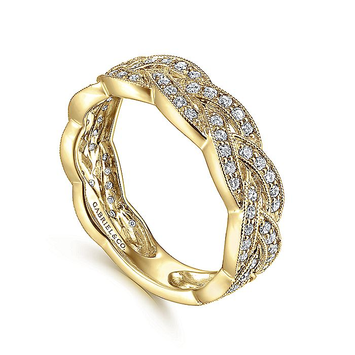 14K Yellow Gold Braided Diamond Stackable Ring