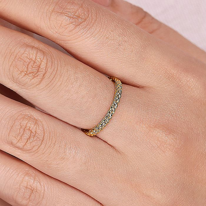 14K Yellow Gold Braided Metal Stackable Band
