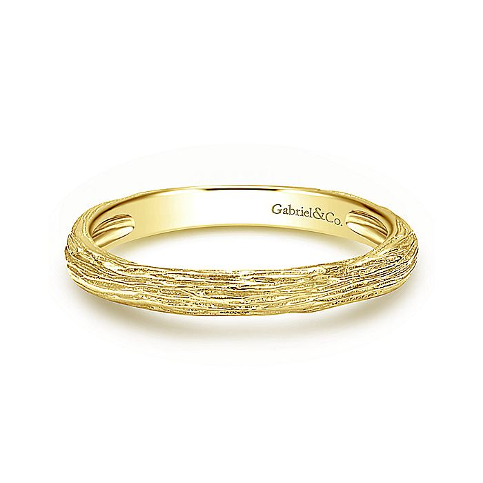 14K Yellow Gold Brushed Textured Stackable Ring