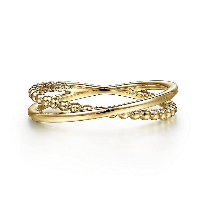 14K Yellow Gold Bujukan Ball Criss Cross Ring