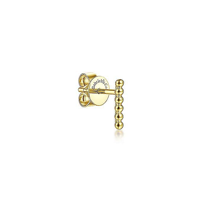 14K Yellow Gold Bujukan Bar Single Earring