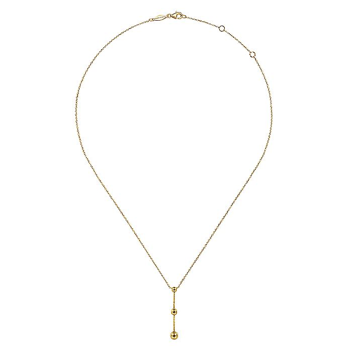 14K Yellow Gold Bujukan Bar Y Necklace