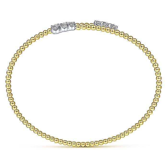 14K Yellow Gold Bujukan Bead Bypass Bangle with Graduating Diamond Caps