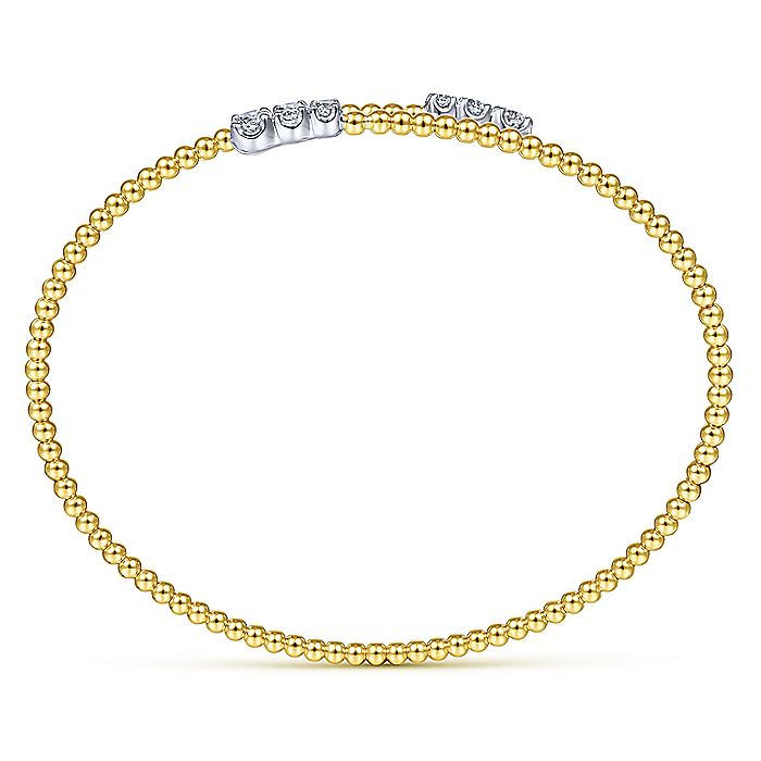 14K Yellow Gold Bujukan Bead Bypass Bangle with Graduating Diamond Caps