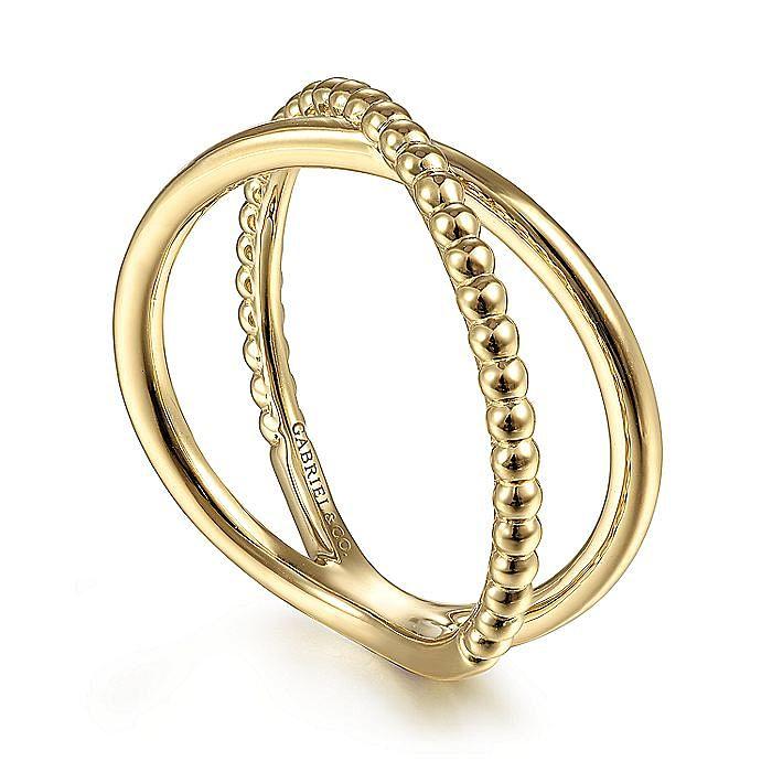 14K Yellow Gold Bujukan Bead Criss Cross Ring