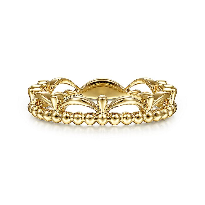 14K Yellow Gold Bujukan Bead Crown Ring