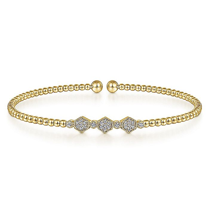 14K Yellow Gold Bujukan Bead Cuff Bracelet with Cluster Diamond Hexagon Stations
