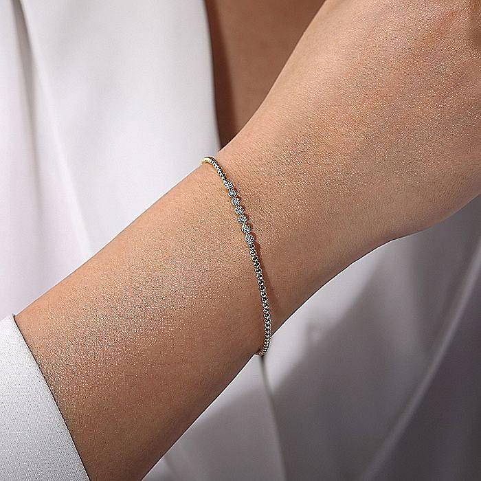 14K Yellow Gold Bujukan Bead Cuff Bracelet with Cluster Diamond Stations
