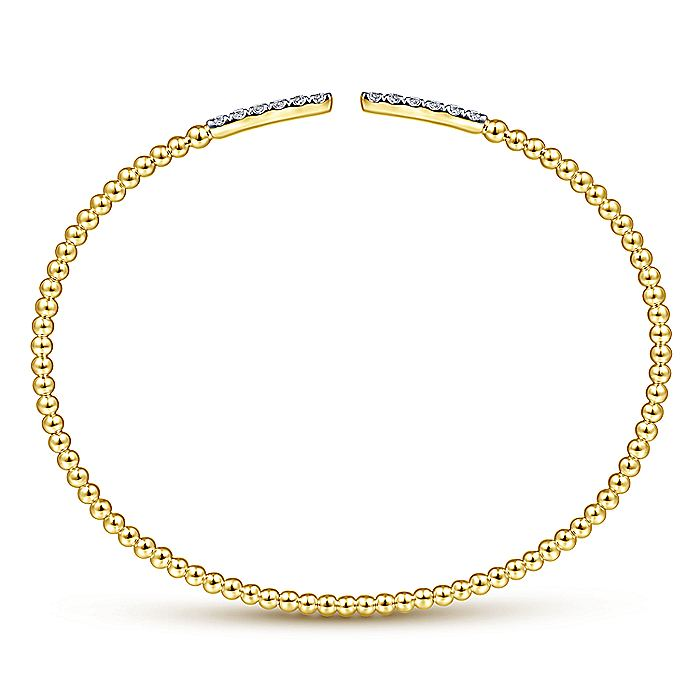 14K Yellow Gold Bujukan Bead Cuff Bracelet with Diamond Pavé Bars