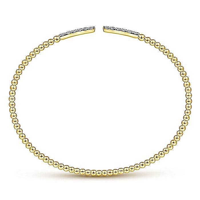 14K Yellow Gold Bujukan Bead Cuff Bracelet with Diamond Pavé Bars
