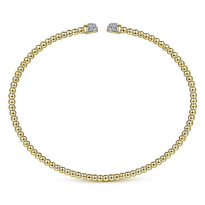 14K Yellow Gold Bujukan Bead Cuff Bracelet with Diamond Pavé Caps