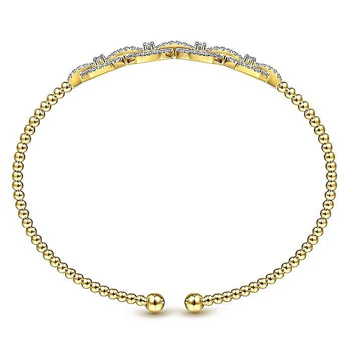 14K Yellow Gold Bujukan Bead Cuff Bracelet with Diamond Pavé Links