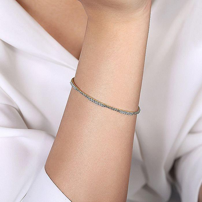 14K Yellow Gold Bujukan Bead Cuff Bracelet with Diamond Pavé Stations