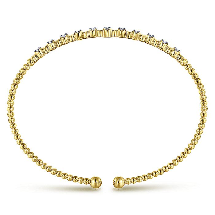 14K Yellow Gold Bujukan Bead Cuff Bracelet with Diamond Stations