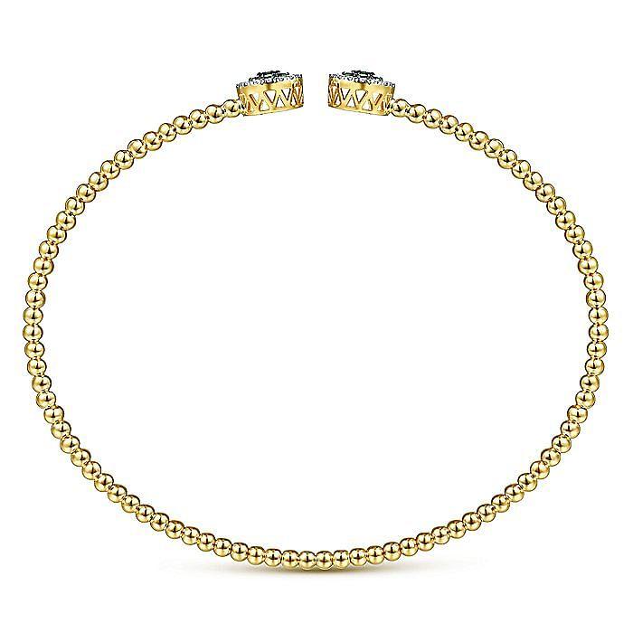 14K Yellow Gold Bujukan Bead Cuff Bracelet with Emerald and Diamond Halo Caps