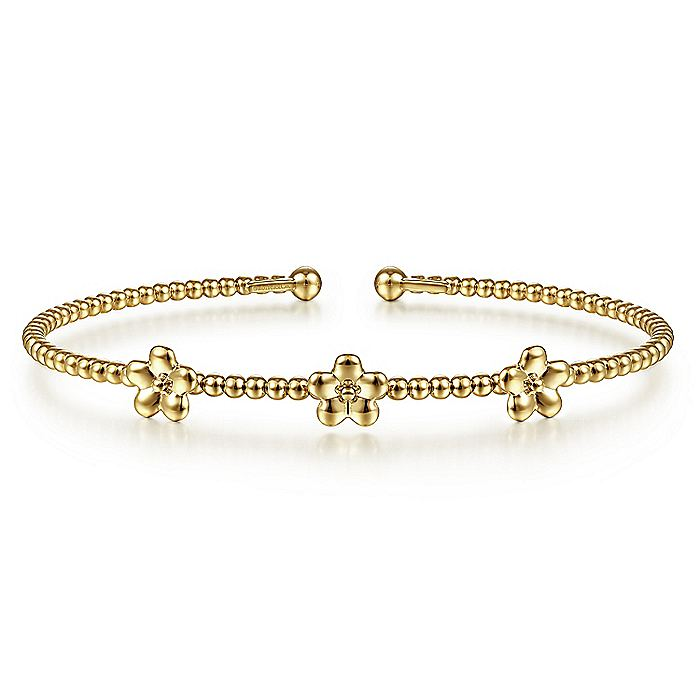 14K Yellow Gold Bujukan Bead Cuff Bracelet with Flower Stations