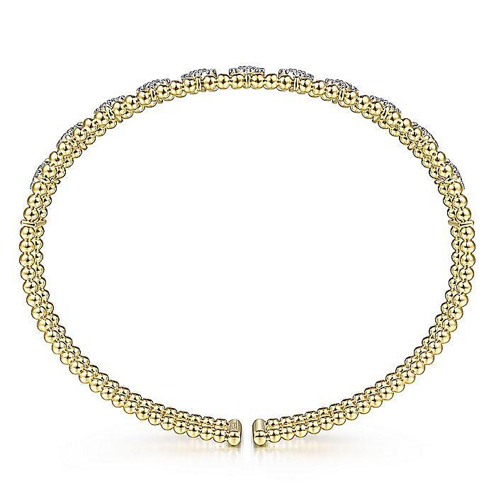 14K Yellow Gold Bujukan Bead Cuff Bracelet with Pavé Diamond Connectors
