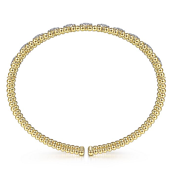 14K Yellow Gold Bujukan Bead Cuff Bracelet with Pavé Diamond Connectors