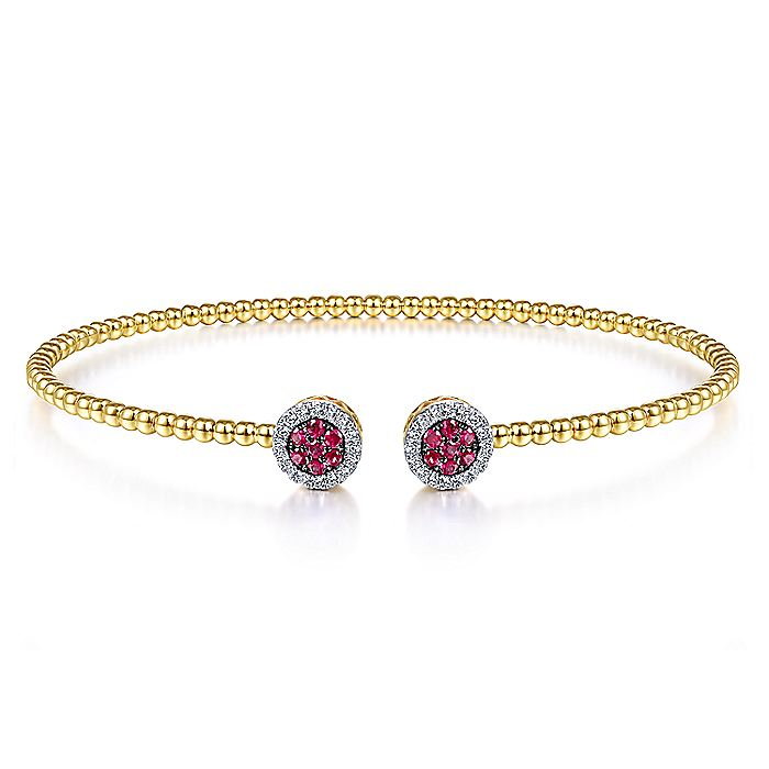 14K Yellow Gold Bujukan Bead Cuff Bracelet with Ruby and Diamond Halo Caps