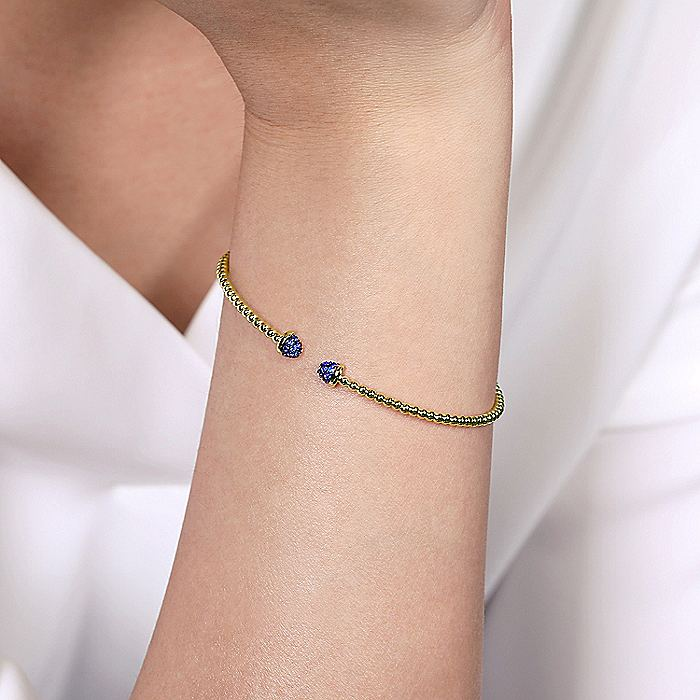 14K Yellow Gold Bujukan Bead Cuff Bracelet with Sapphire Pavé Caps