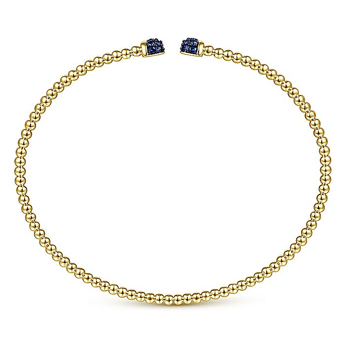 14K Yellow Gold Bujukan Bead Cuff Bracelet with Sapphire Pavé Caps