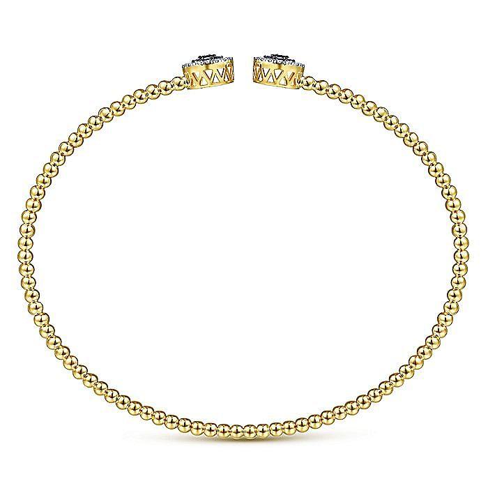 14K Yellow Gold Bujukan Bead Cuff Bracelet with Sapphire and Diamond Halo Caps