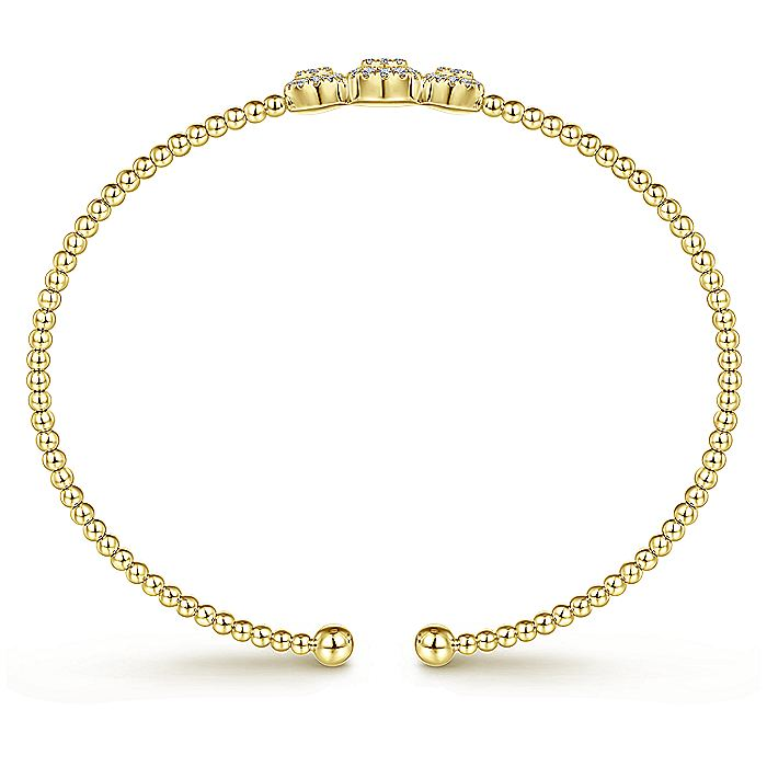 14K Yellow Gold Bujukan Bead Cuff Bracelet with Three Pavé Diamond Stations