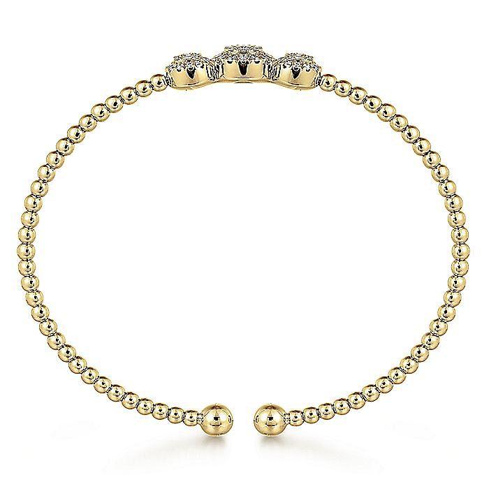 14K Yellow Gold Bujukan Bead Cuff Bracelet with Three Pavé Diamond Stations