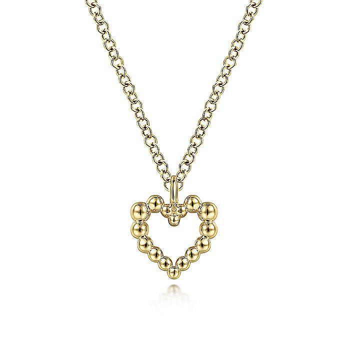 14K Yellow Gold Bujukan Bead Open Heart Pendant Necklace