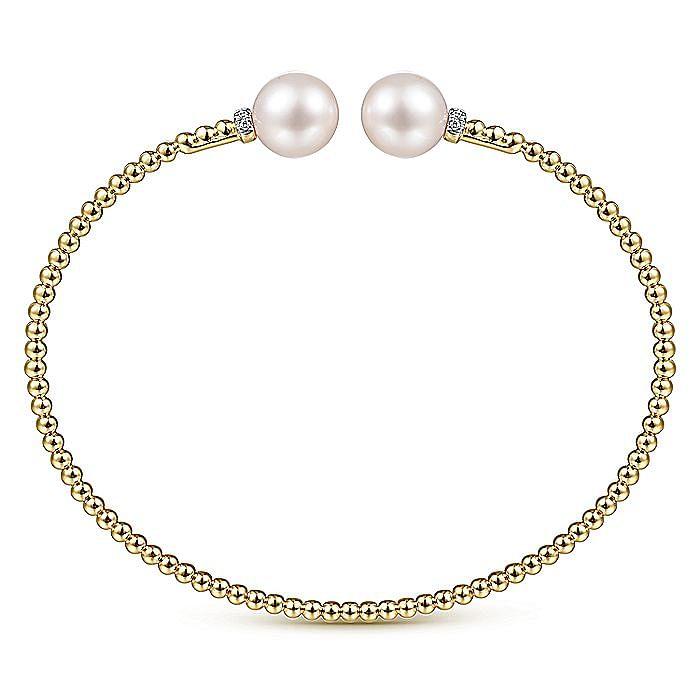 14K Yellow Gold Bujukan Bead Split Bracelet with Pearl and Diamond Caps