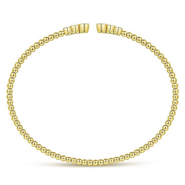 14K Yellow Gold Bujukan Bead Split Cuff Bracelet with Bezel Set Diamonds