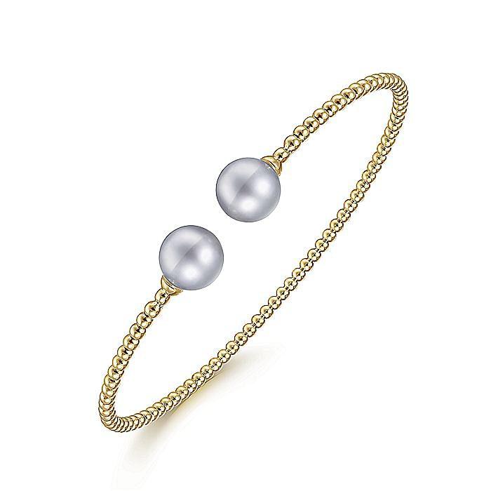 14K Yellow Gold Bujukan Bead Split Cuff Bracelet with Grey Pearls