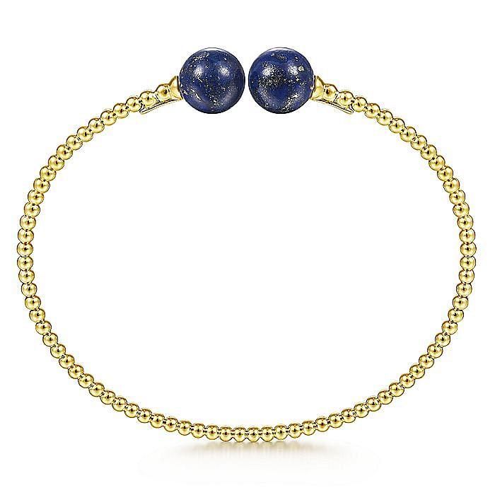 14K Yellow Gold Bujukan Bead Split Cuff Bracelet with Lapis Beads