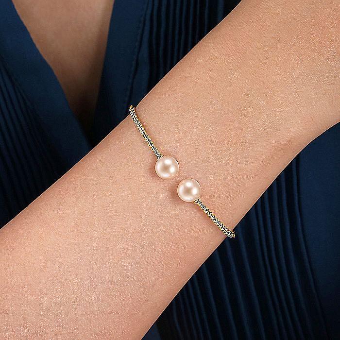 14K Yellow Gold Bujukan Bead Split Cuff Bracelet with Pink Pearls