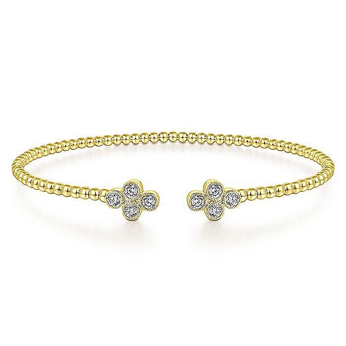 14K Yellow Gold Bujukan Bead Split Cuff Bracelet with Quatrefoil Diamond Endcaps