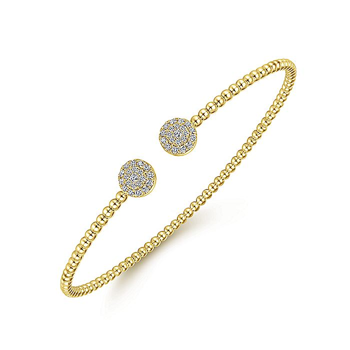 14K Yellow Gold Bujukan Bead Split Cuff Bracelet with Round Pavé Diamond Discs
