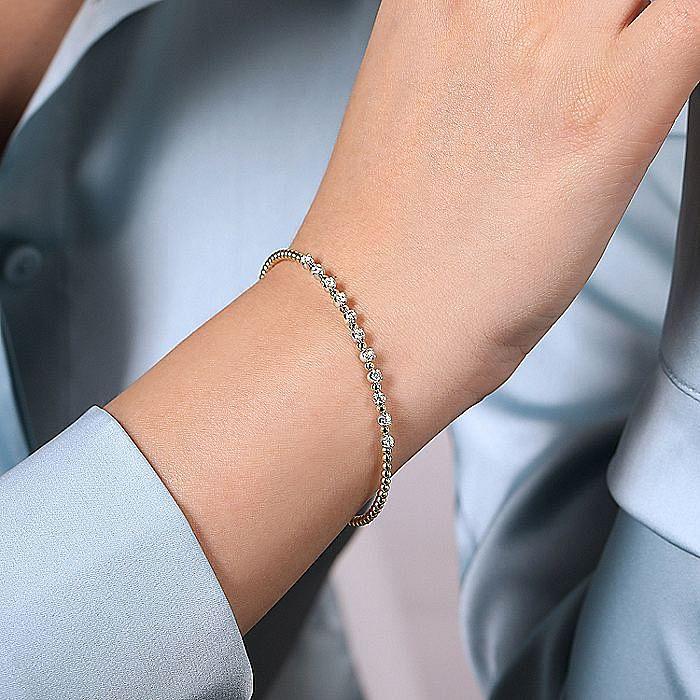 14K Yellow Gold Bujukan Bead Split Cuff Bracelet with Round White Gold Diamond Stations