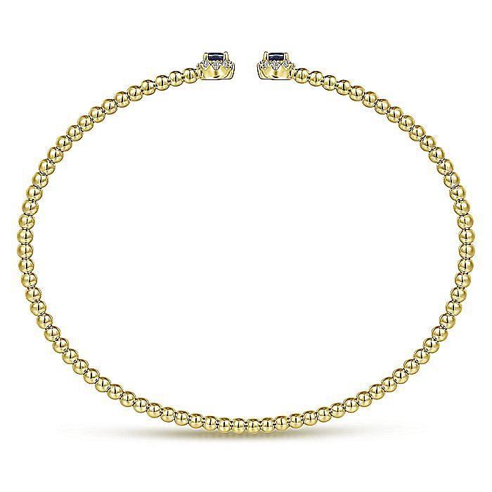 14K Yellow Gold Bujukan Bead Split Cuff Bracelet with Sapphire and Diamond