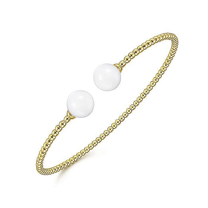 14K Yellow Gold Bujukan Bead Split Cuff Bracelet with Yellow Agate Beads