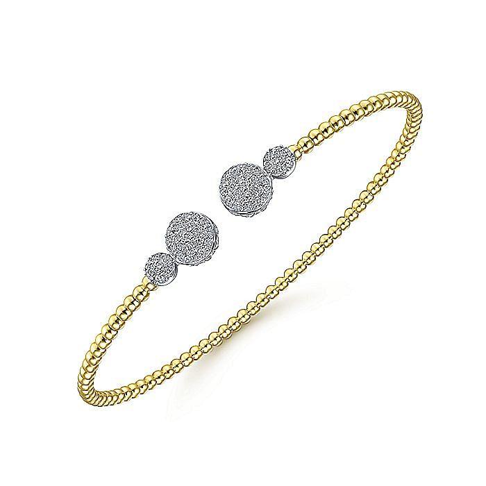14K Yellow Gold Bujukan Bead Split Cuff with Round Diamond Pavé Caps