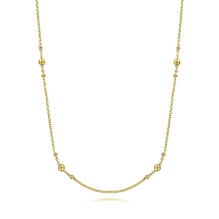 14K Yellow Gold Bujukan Bead Station Necklace