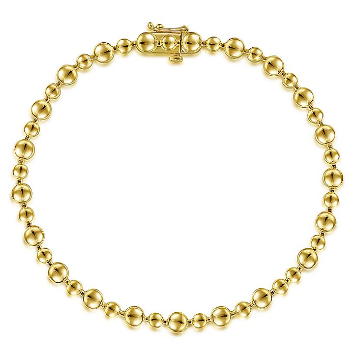 14K Yellow Gold Bujukan Bead Tennis Bracelet
