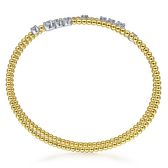 14K Yellow Gold Bujukan Bead Wrap Bracelet with White Gold Diamond Stations