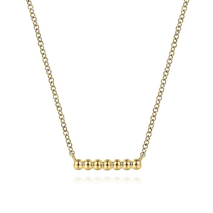 14K Yellow Gold Bujukan Beaded Bar Necklace
