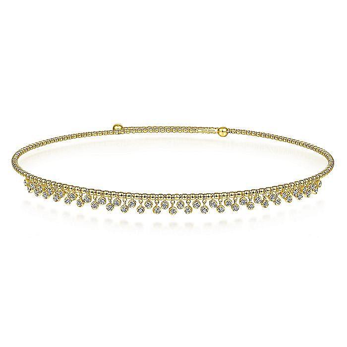 14K Yellow Gold Bujukan Beaded Choker Necklace with Bezel Set Diamond Clusters