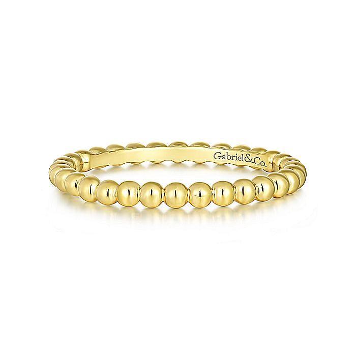 14K Yellow Gold Bujukan Beaded Stackable Ring