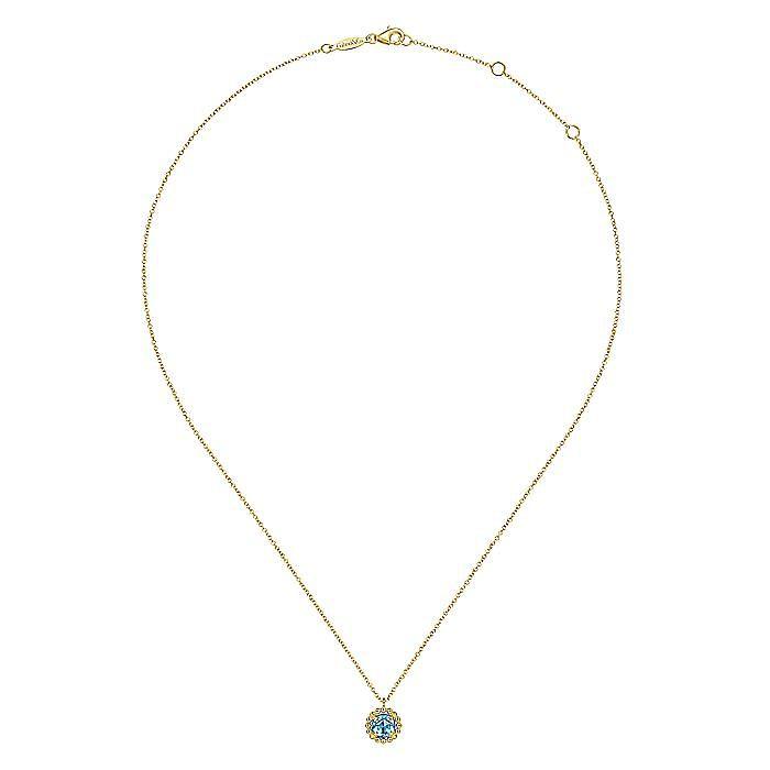 14K Yellow Gold Bujukan Blue Topaz Pendant Necklace