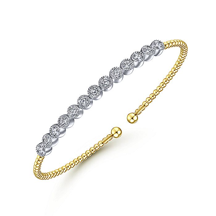 14K Yellow Gold Bujukan Cuff Bracelet with Bezel Set White Gold Diamonds