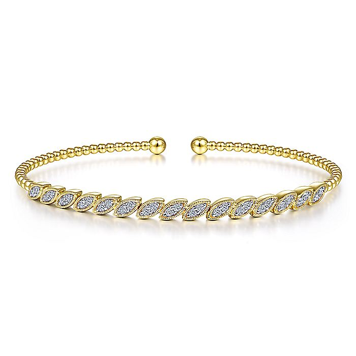 14K Yellow Gold Bujukan Cuff Bracelet with Diamond Filled Marquise Stations