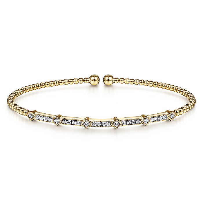 14K Yellow Gold Bujukan Cuff Bracelet with Diamonds